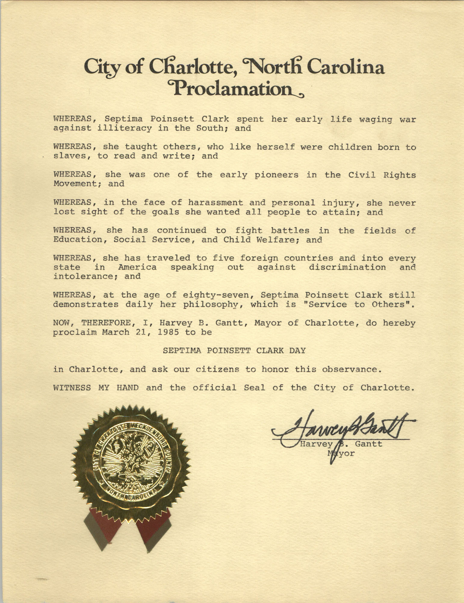 Proclamation, March 21, 1985