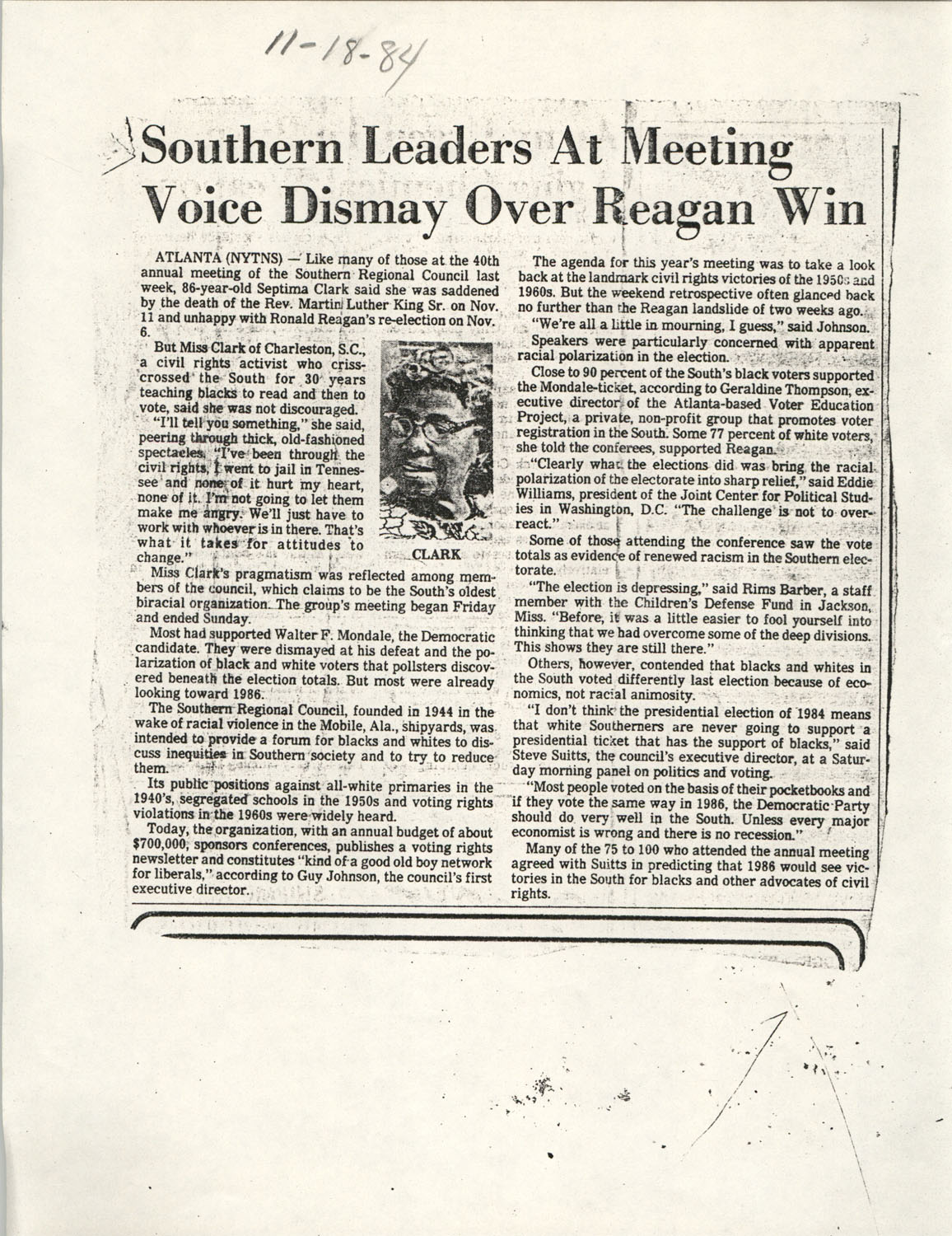 Newspaper Article, November 18, 1984