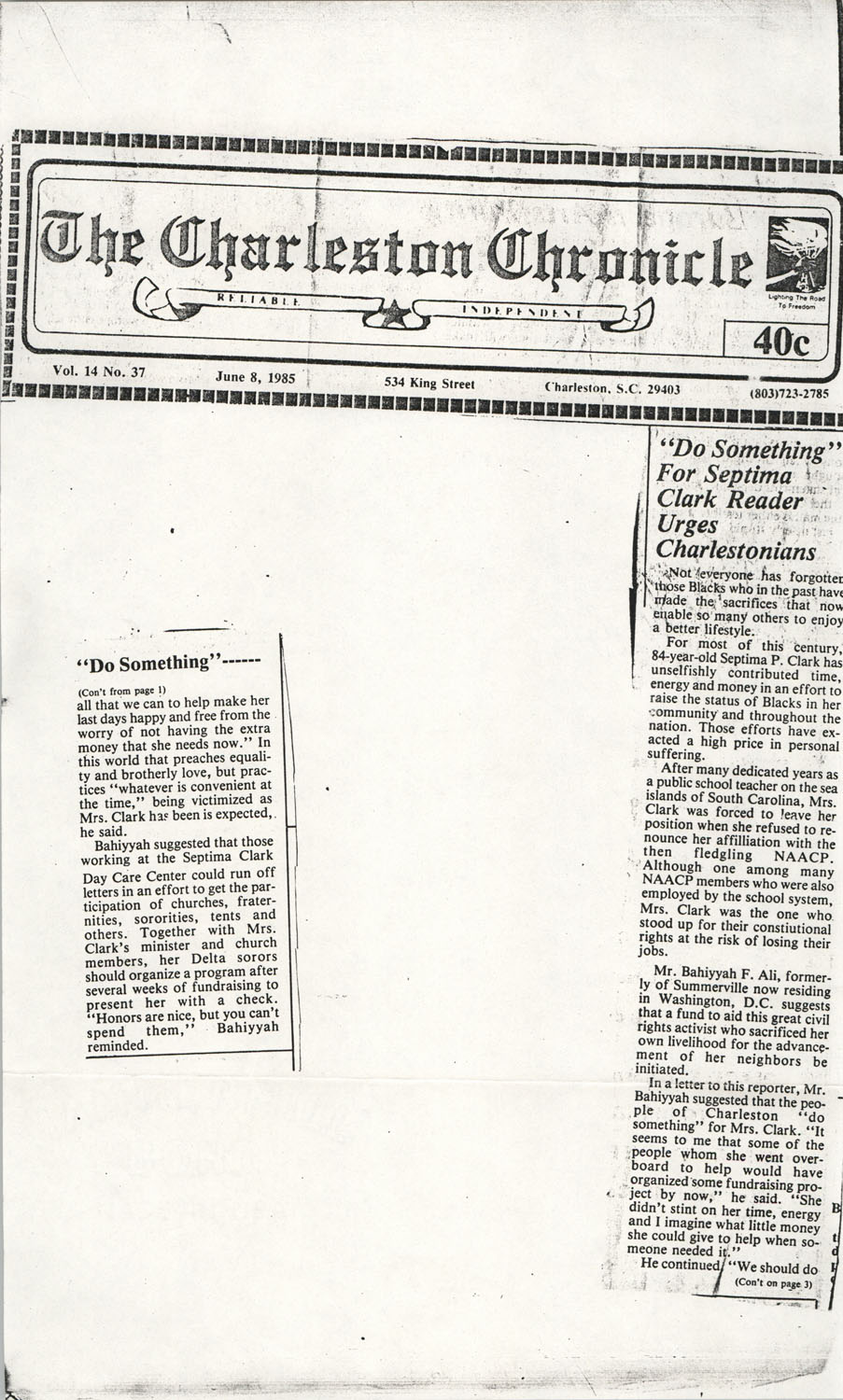 Newspaper Article, June 8, 1985