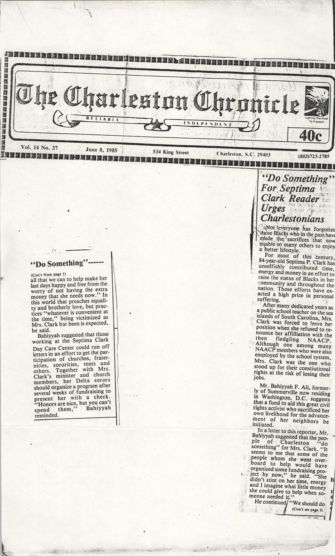 Newspaper Article, June 8, 1985