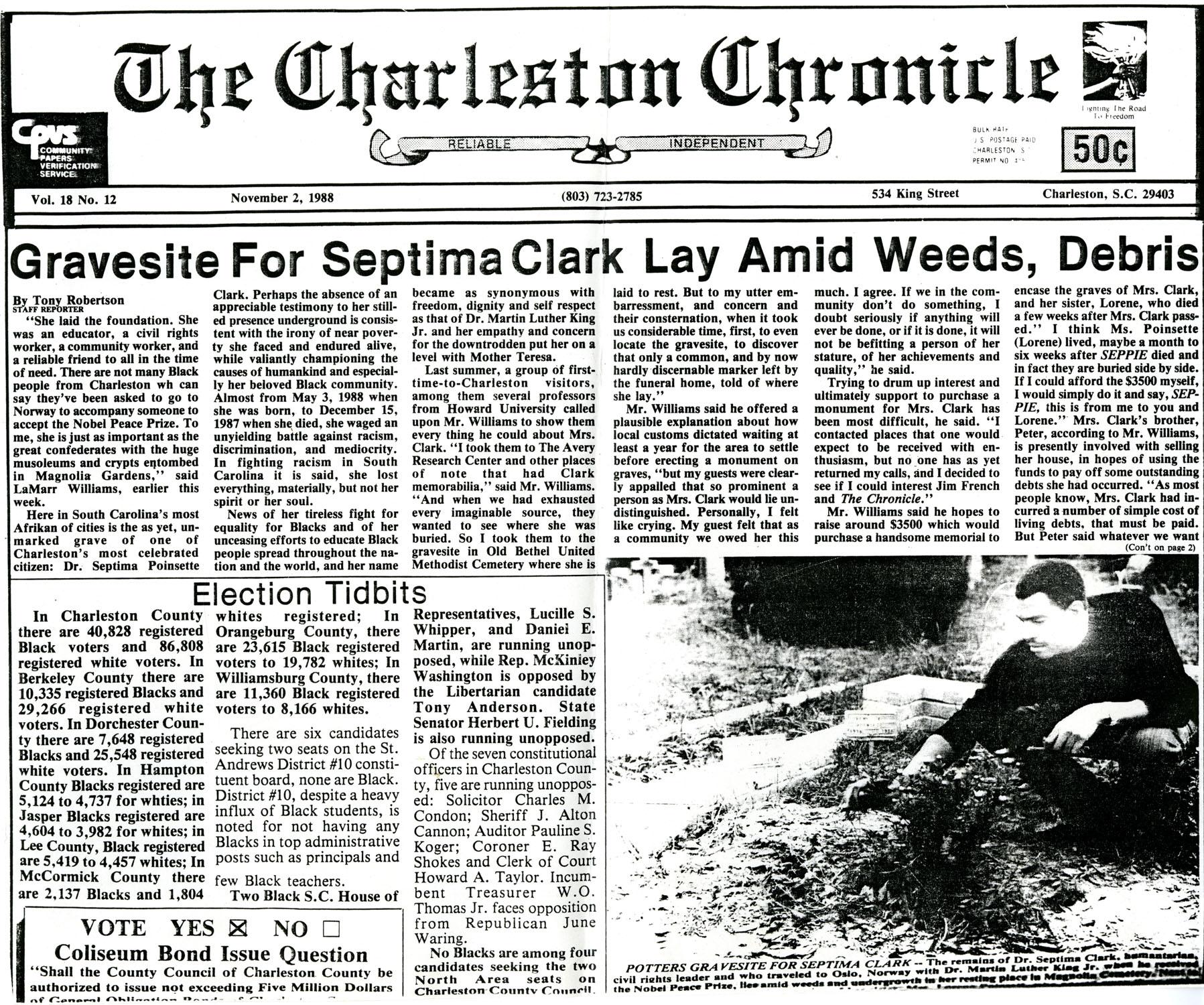 Newspaper Article, November 2, 1988