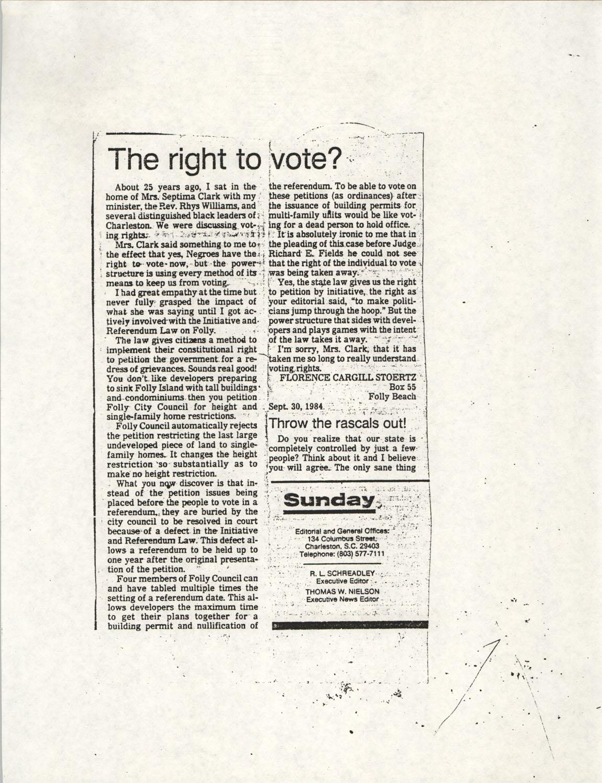 Newspaper Article, September 30, 1984