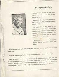 Biographical Sketch of Mrs. Septima P. Clark