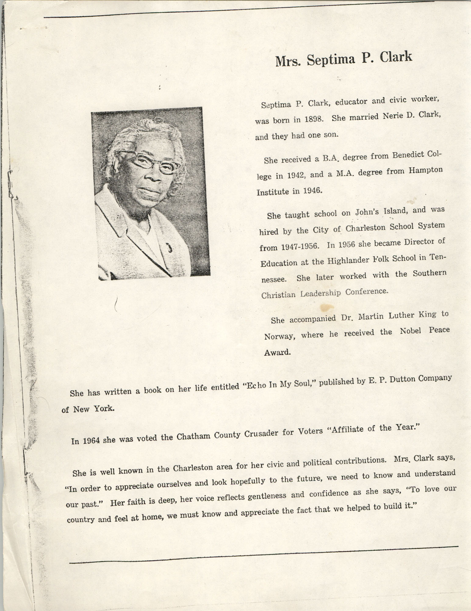 Biographical Sketch of Mrs. Septima P. Clark