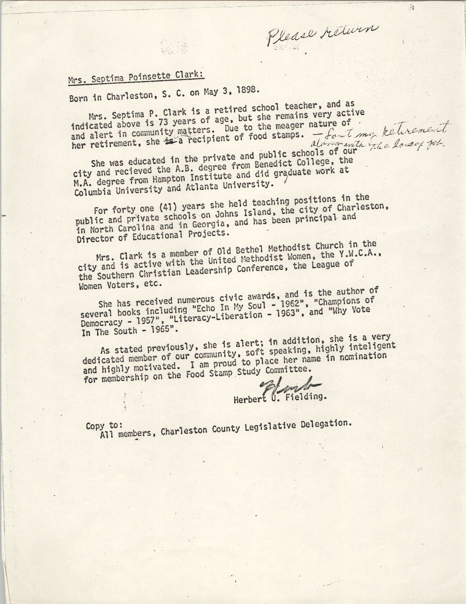 Nomination letter for Mrs. Septima Poinsette Clark