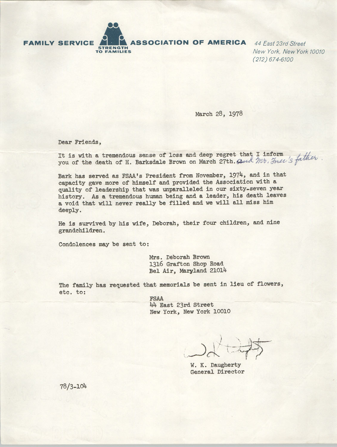 Letter from W. K. Daugherty to
