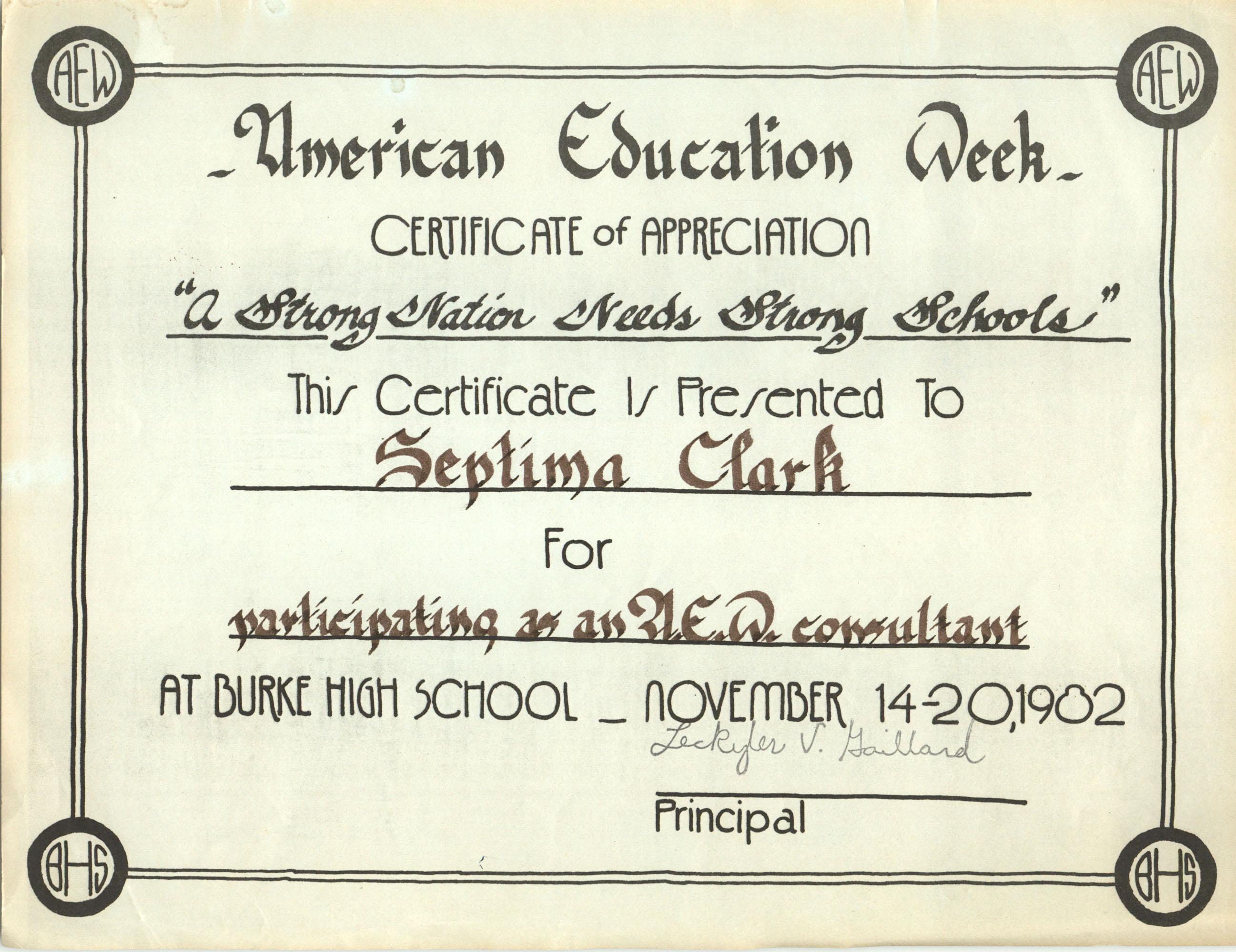 Certificate, November 20, 1982