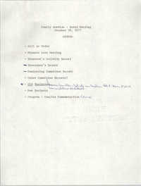 Agenda, Family Service - Board Meeting, October 18, 1977