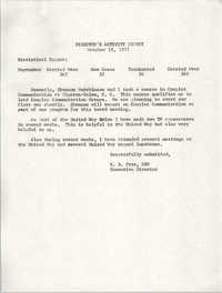 Director's Activity Report, October 18, 1977