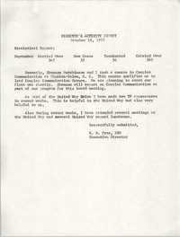 Director's Activity Report, October 18, 1977