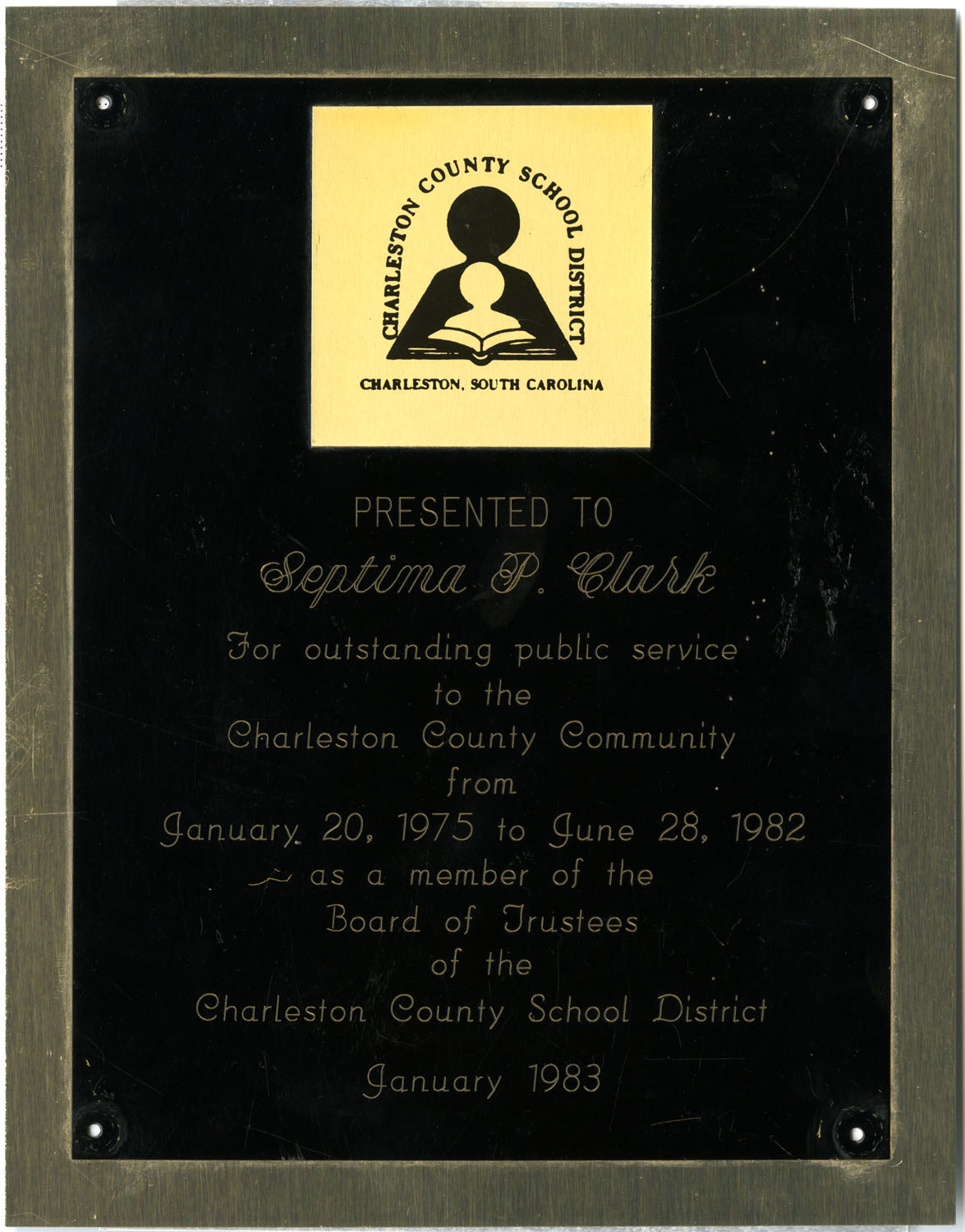 Plaque, January 1983
