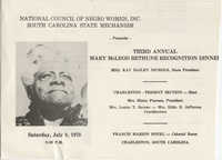 Third Annual Mary McLeod Bethune Recognition Dinner Program, July 8, 1878