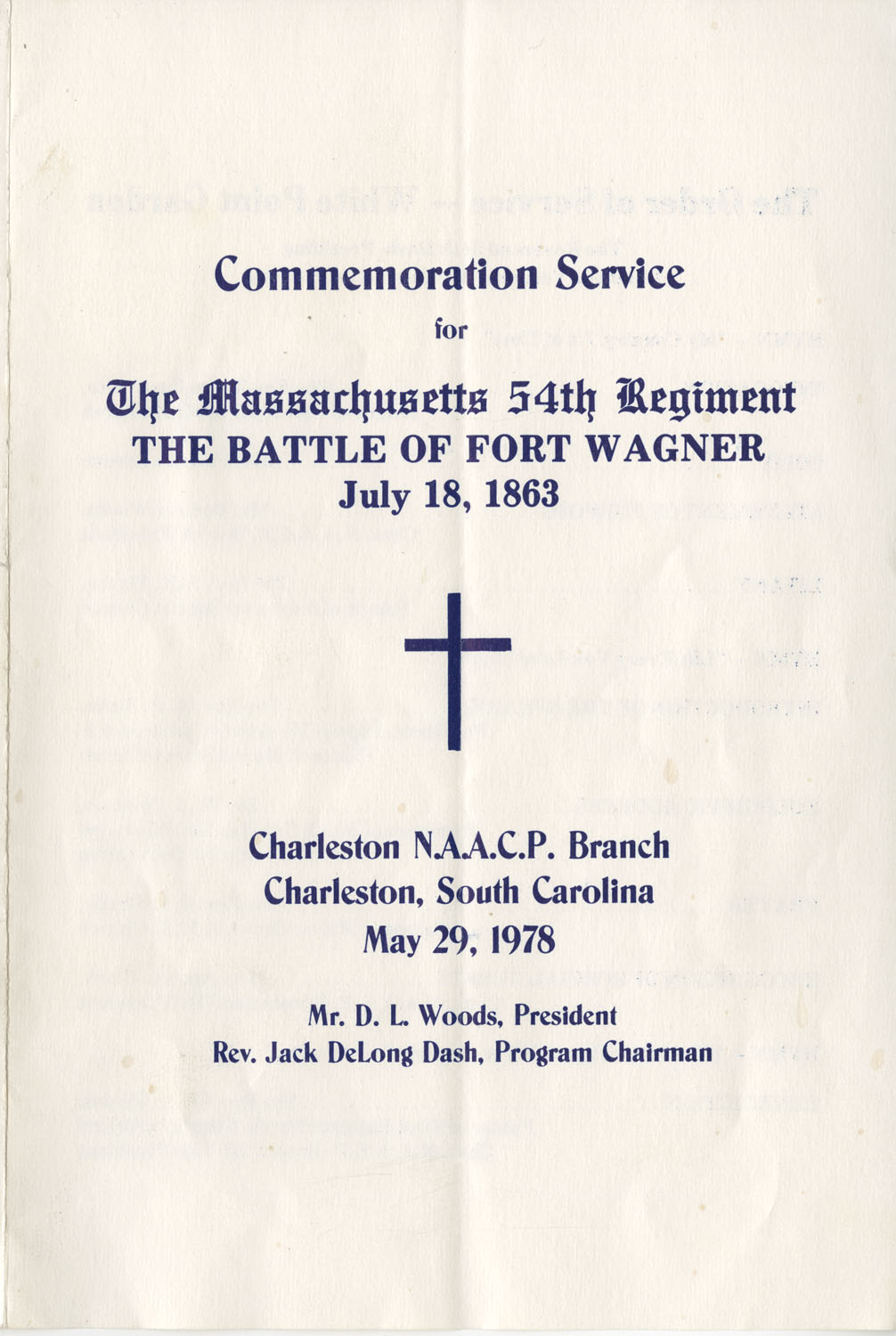 Commemoration Service for the Massachusetts 54th Regiment, the Battle of Fort Wagner, May 29, 1978
