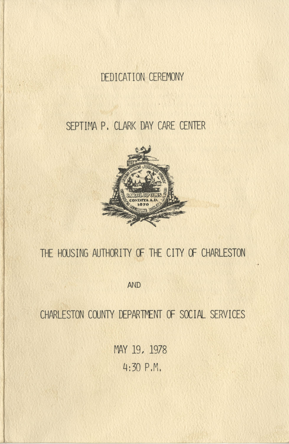Dedication Ceremony Program, Septima P. Clark Day Care Center, May 19, 1978