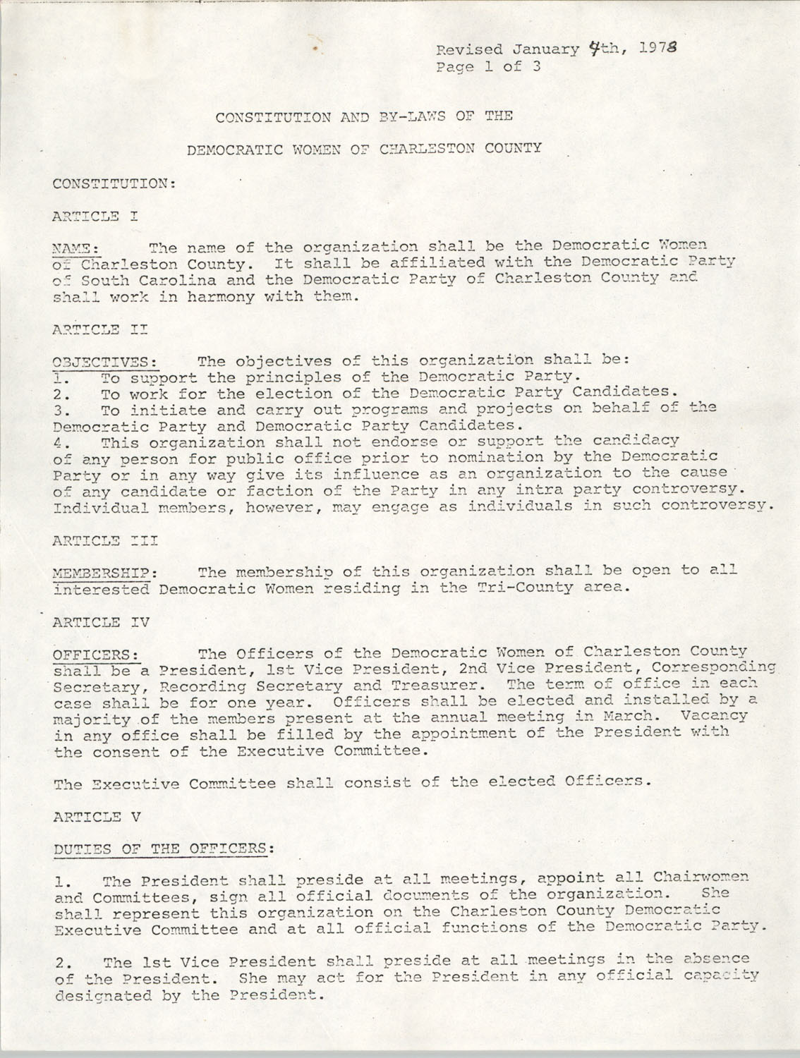 Constitution and By-Laws of the Democratic Women of Charleston County, January 4, 1978