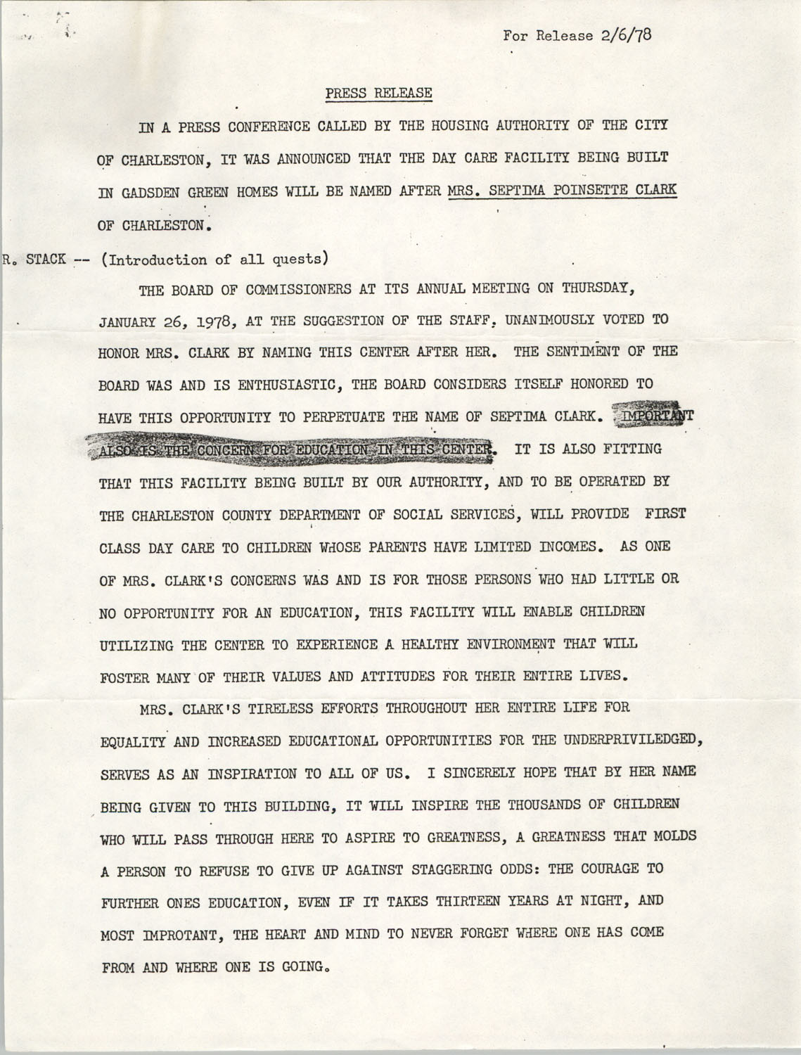 Press Release Statement, The Housing Authority of the City of Charleston, February 1978
