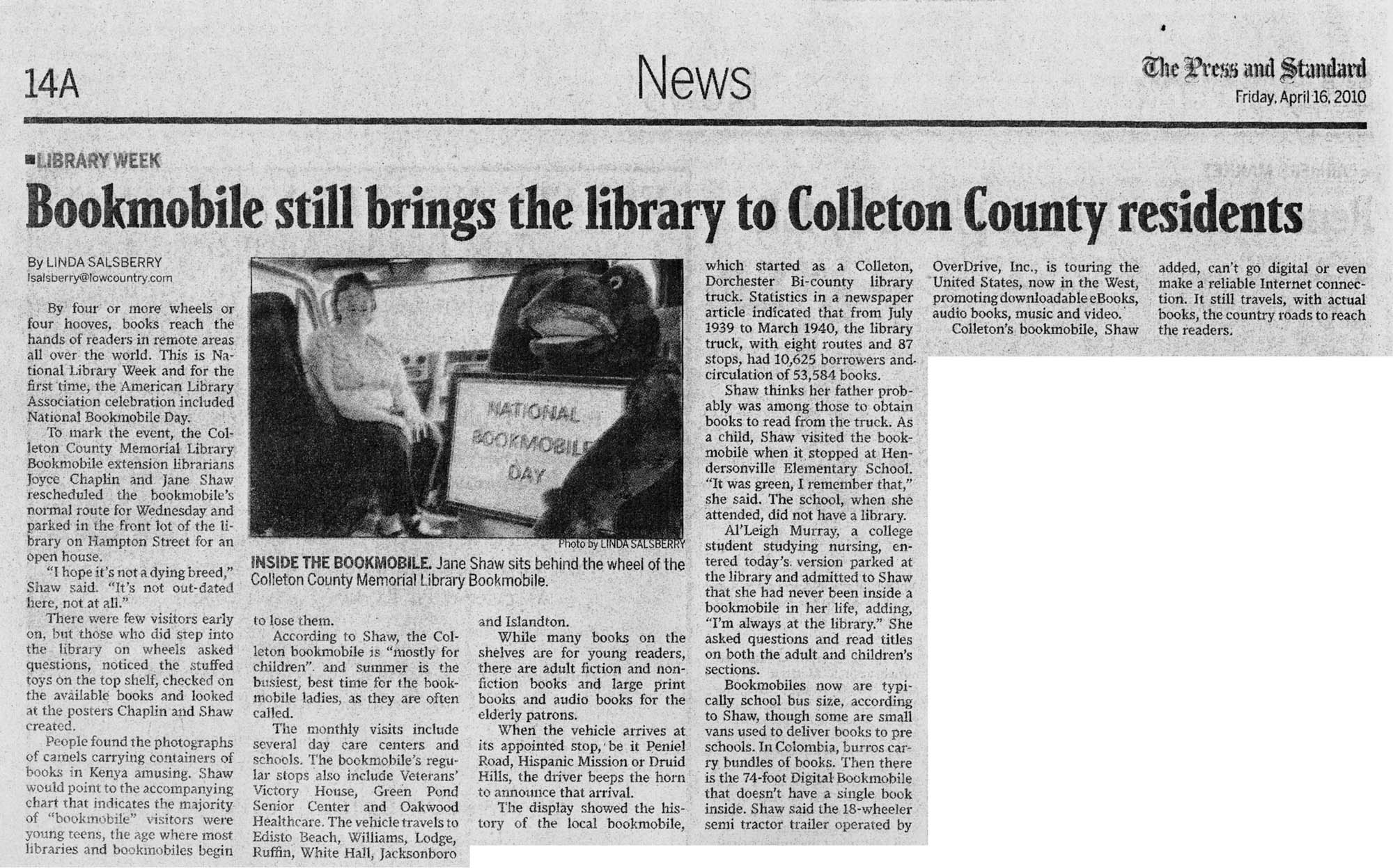 Bookmobile Still Brings the Library to Colleton County Residents