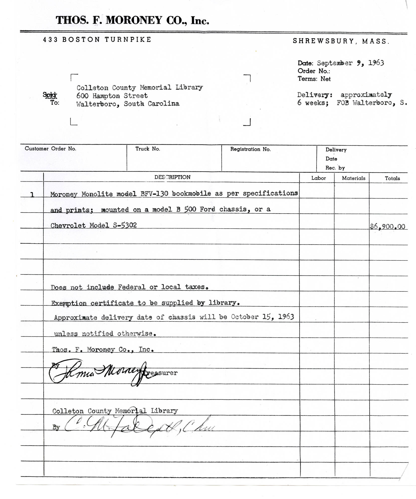 Purchase Order For 1963 Bookmobile