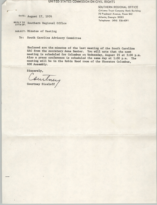 Memorandum from Courtney Siceloff to South Carolina Advisory Committee, August 17, 1976