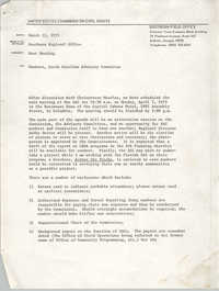 Memorandum from Courtney Siceloff to South Carolina Advisory Committee, March 12, 1975