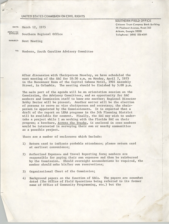 Memorandum from Courtney Siceloff to South Carolina Advisory Committee, March 12, 1975