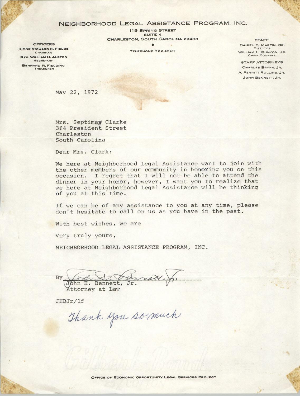Letter from John H. Bennett, Jr. to Septima P. Clark, May 22, 1972