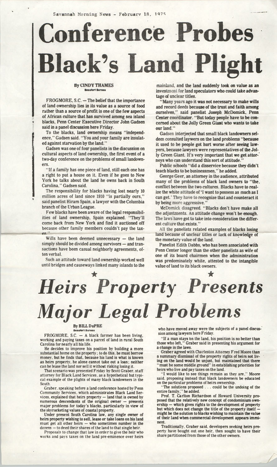 Newspaper Article, February 18, 1975