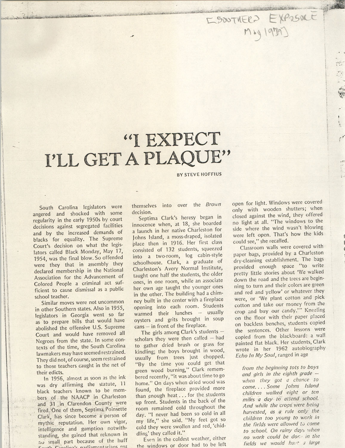 Newspaper Article, May 1979
