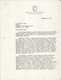Letter from University of South Carolina Professors to Keith E. Davis, November 8, 1976