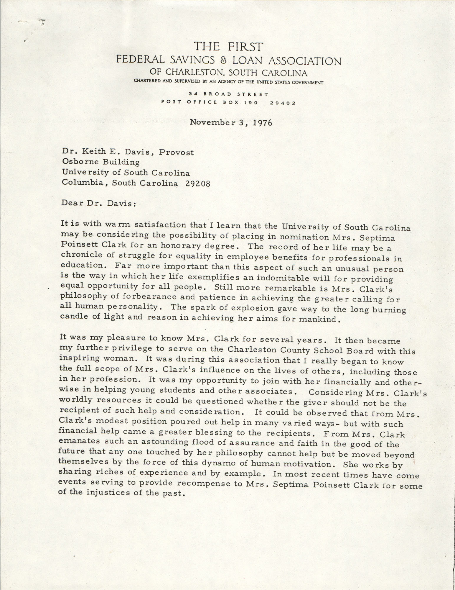 Letter from Howard F. Burky to Keith E. Davis, November 3, 1976