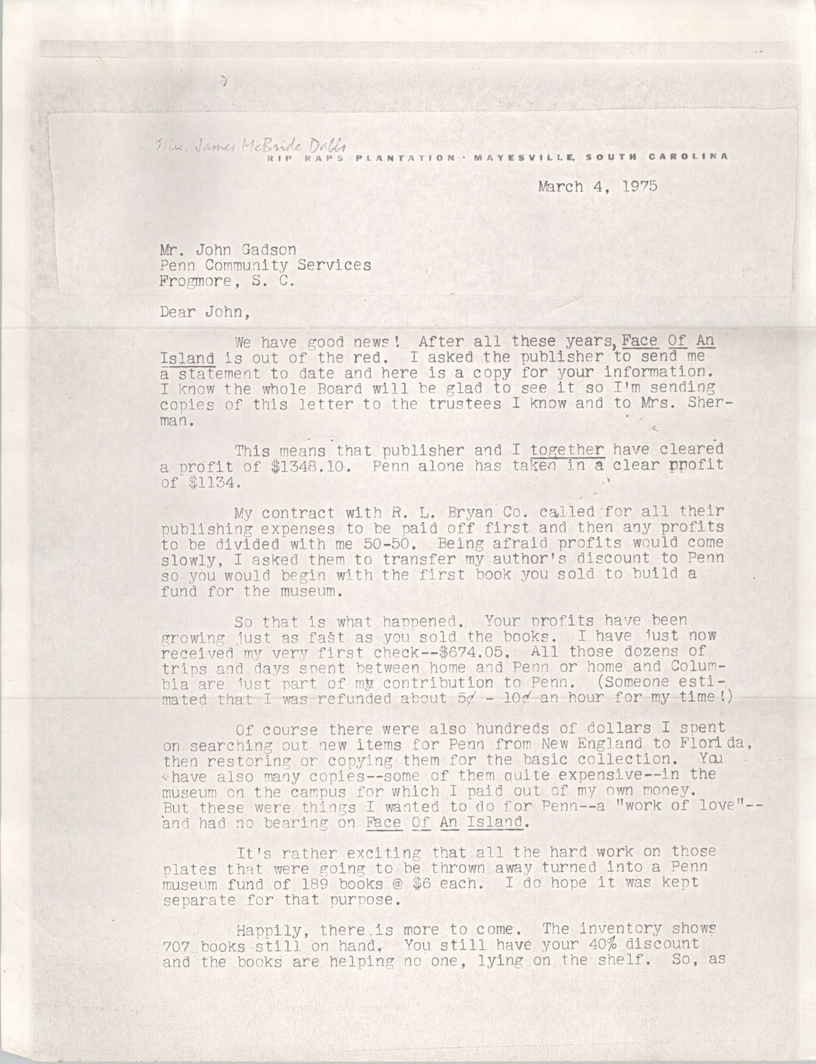 Letter from Edith M. Dabbs to John Gadson, March 4, 1975