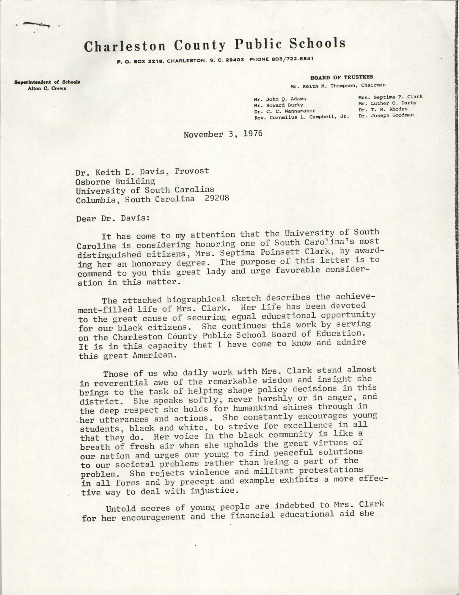 Letter from Alton C. Crews to Keith E. Davis, November 3, 1976