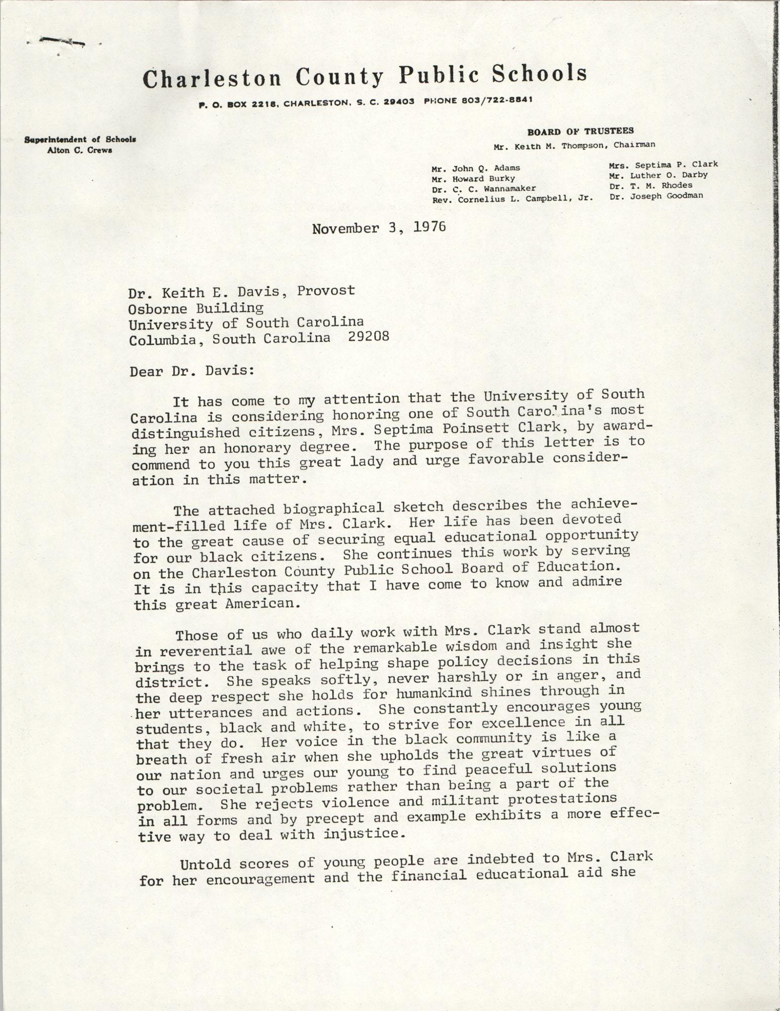 Letter from Alton C. Crews to Keith E. Davis, November 3, 1976