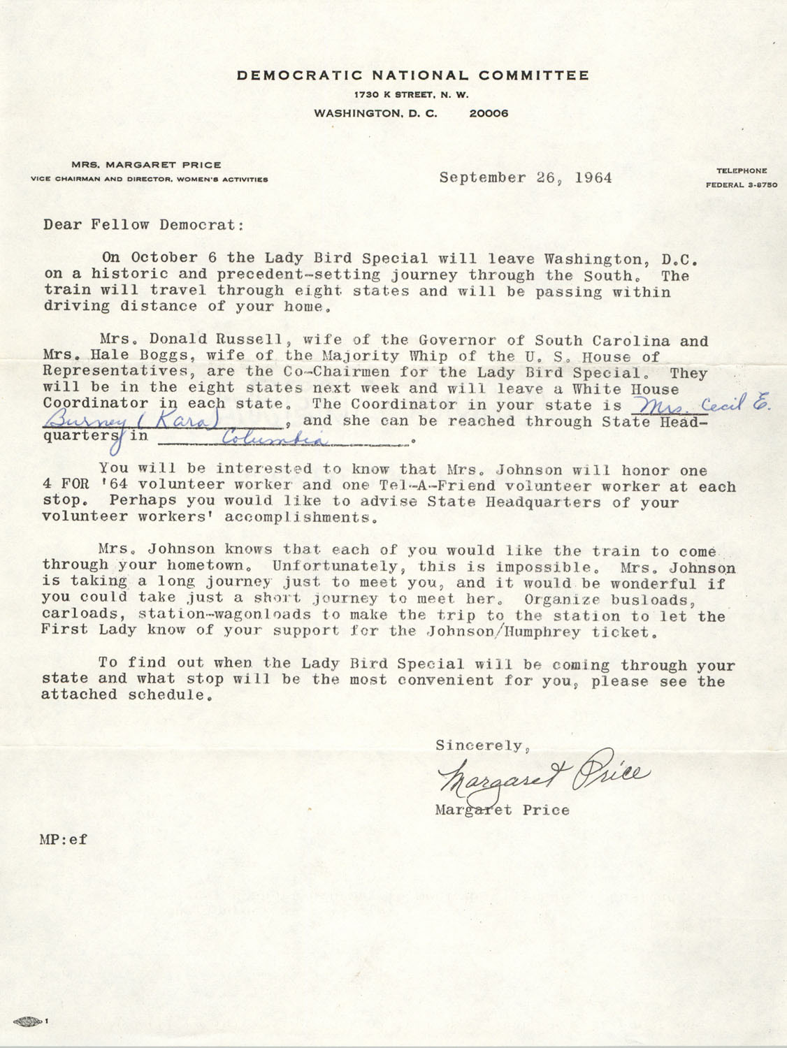 Letter from Margaret Price to Democratic Women of Charleston County, September 26, 1964