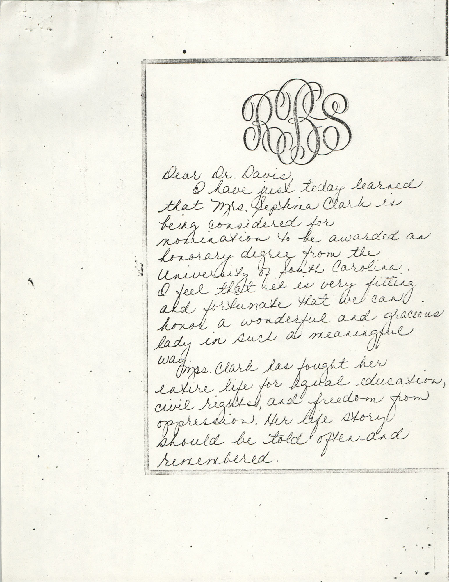 Letter from Robin S. Bluestein to Keith E. Davis, November 8, 1976