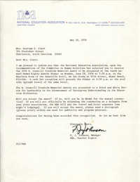 Letter from National Education Association to Septima P. Clark, H. Councill Trenholm Memorial Award, May 10, 1976