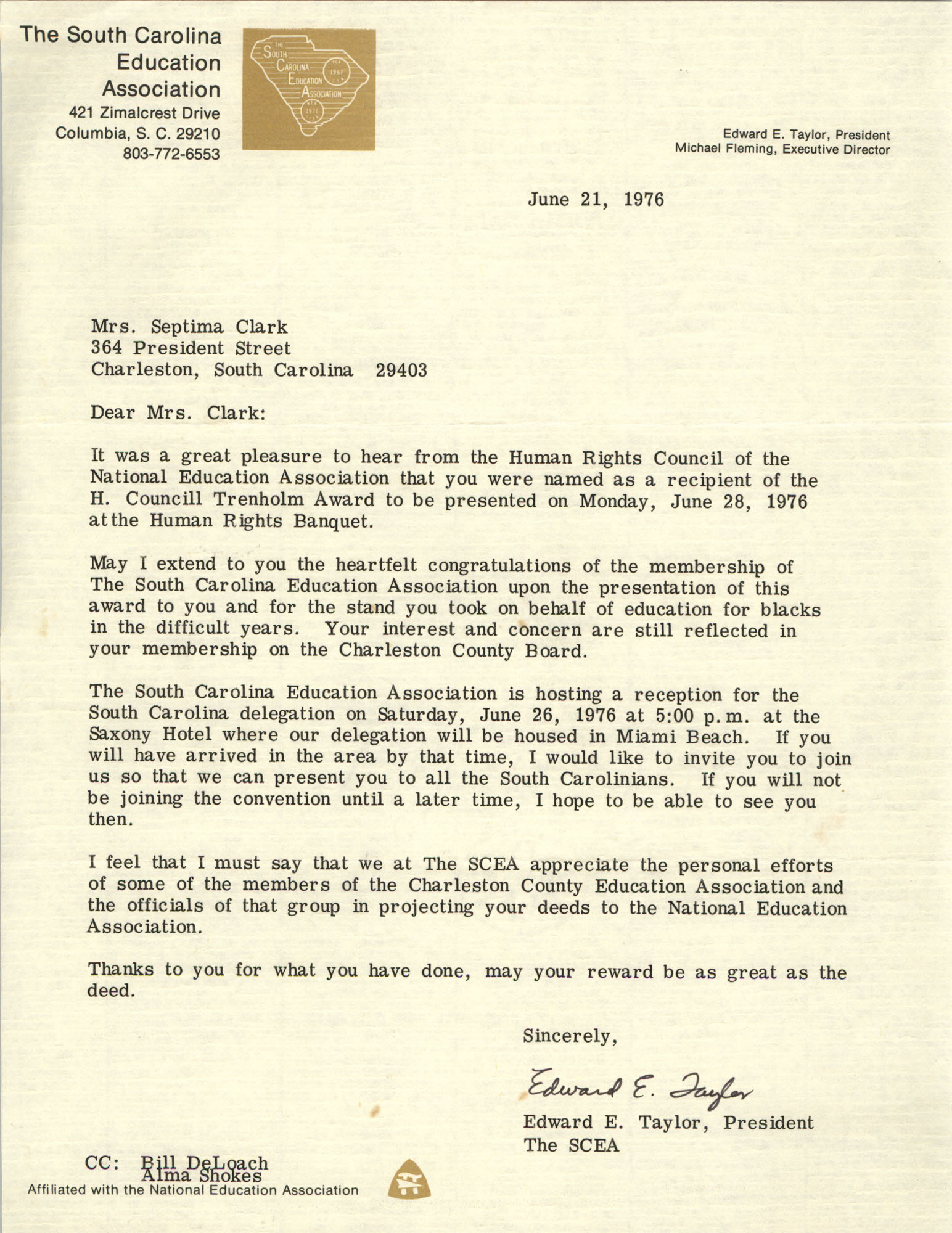 Letter from South Carolina Education Association to Septima P. Clark, June 21, 1976