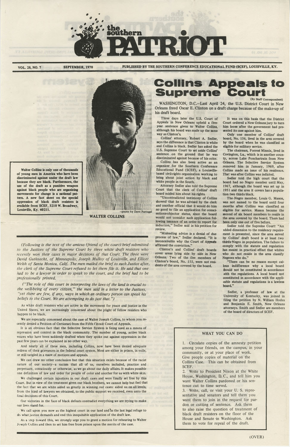 The Southern Patriot Article on Walter Collins, September 1970