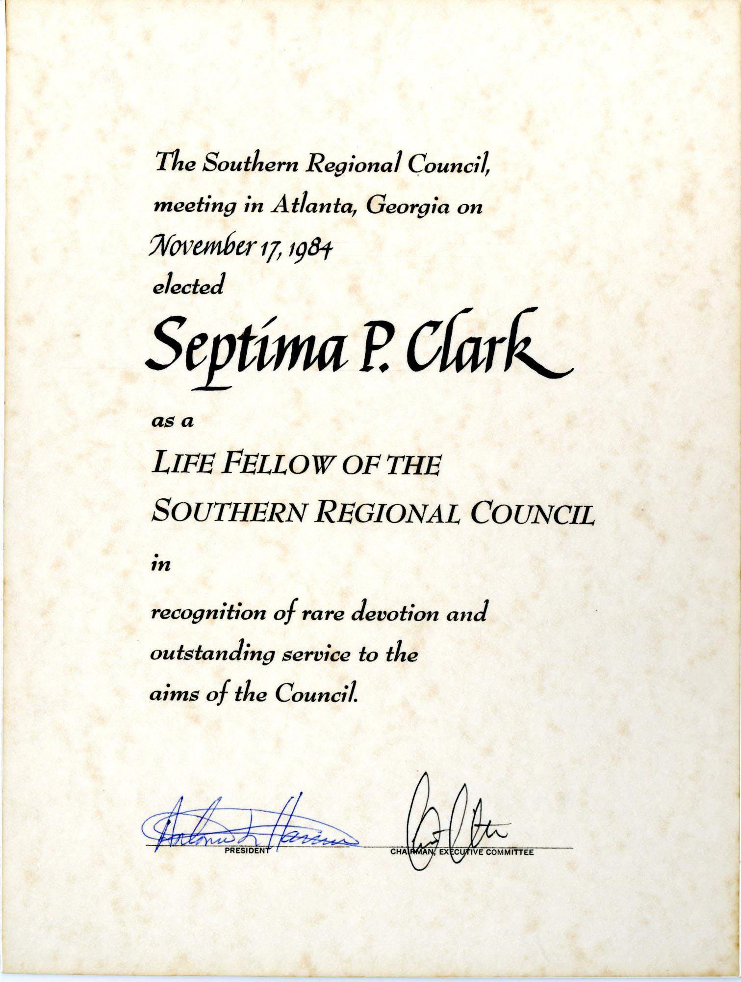 Certificate, November 17, 1984