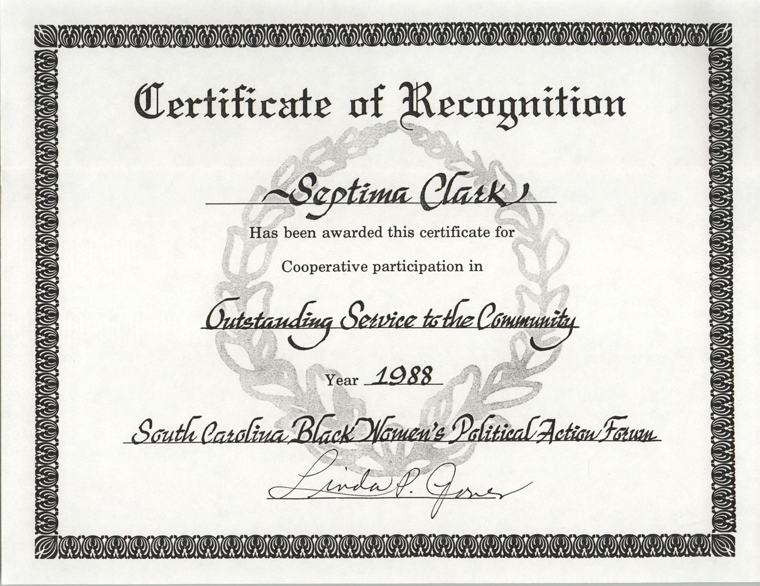 Certificate, 1988