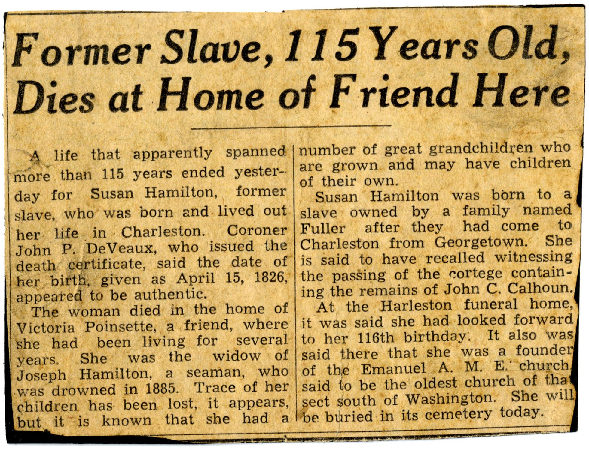 Newspaper Article, Susan Hamilton