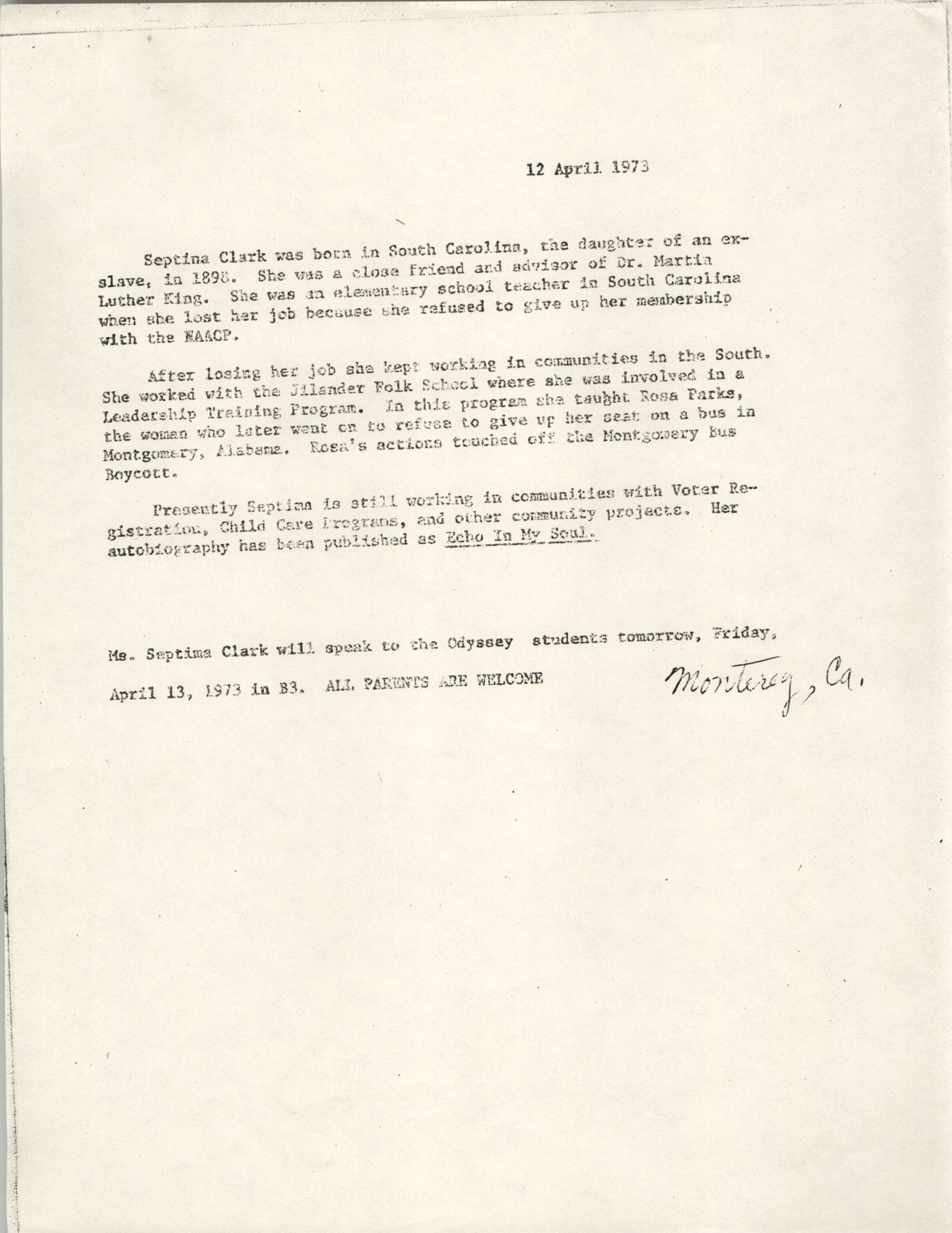 Biographical Sketch of Septima P. Clark for Odyssey students, April 13, 1973