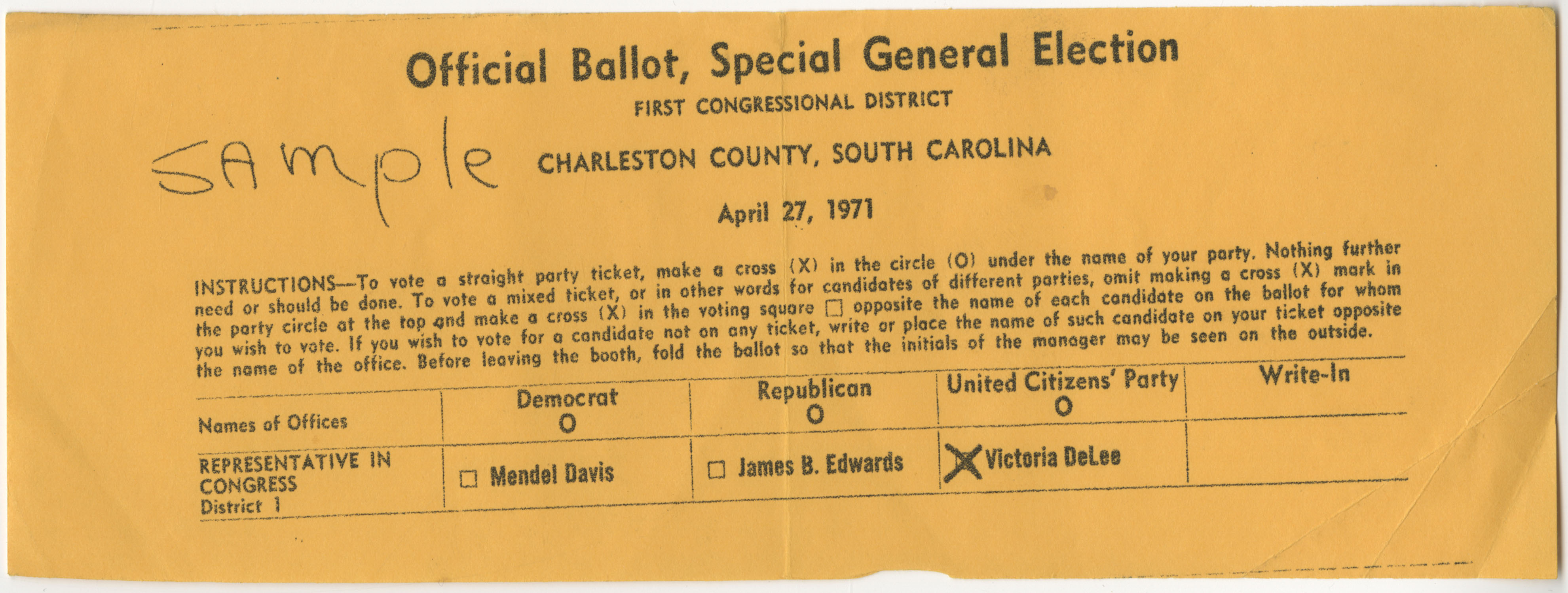 Official Ballot, Special General Election, April 27, 1971