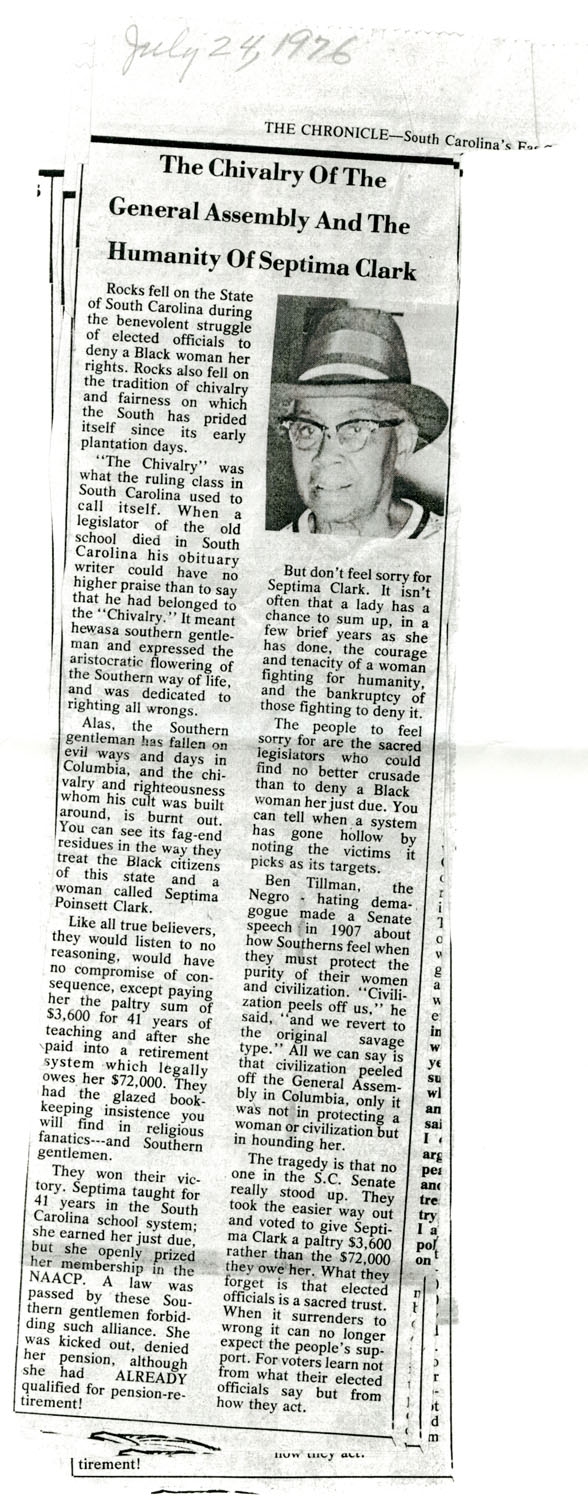 Newspaper Article, July 24, 1976