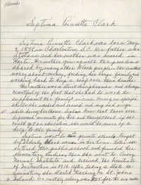 Handwritten biography of Septima Poinsette Clark
