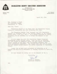 Letter from Charleston County Education Association to Septima P. Clark, April 15, 1976