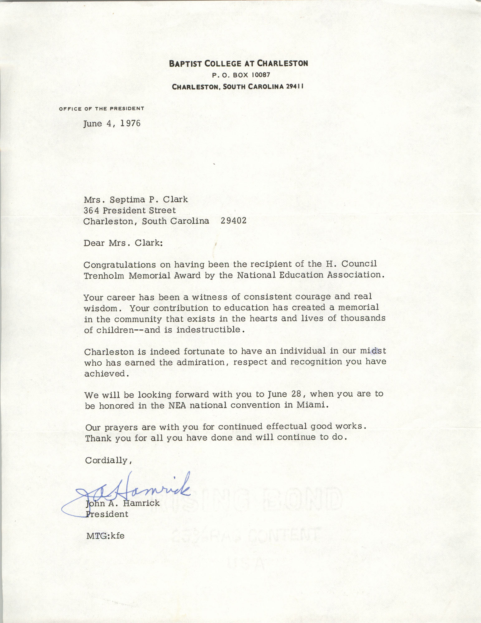 Letter from Baptist College at Charleston to Septima P. Clark, June 4, 1976