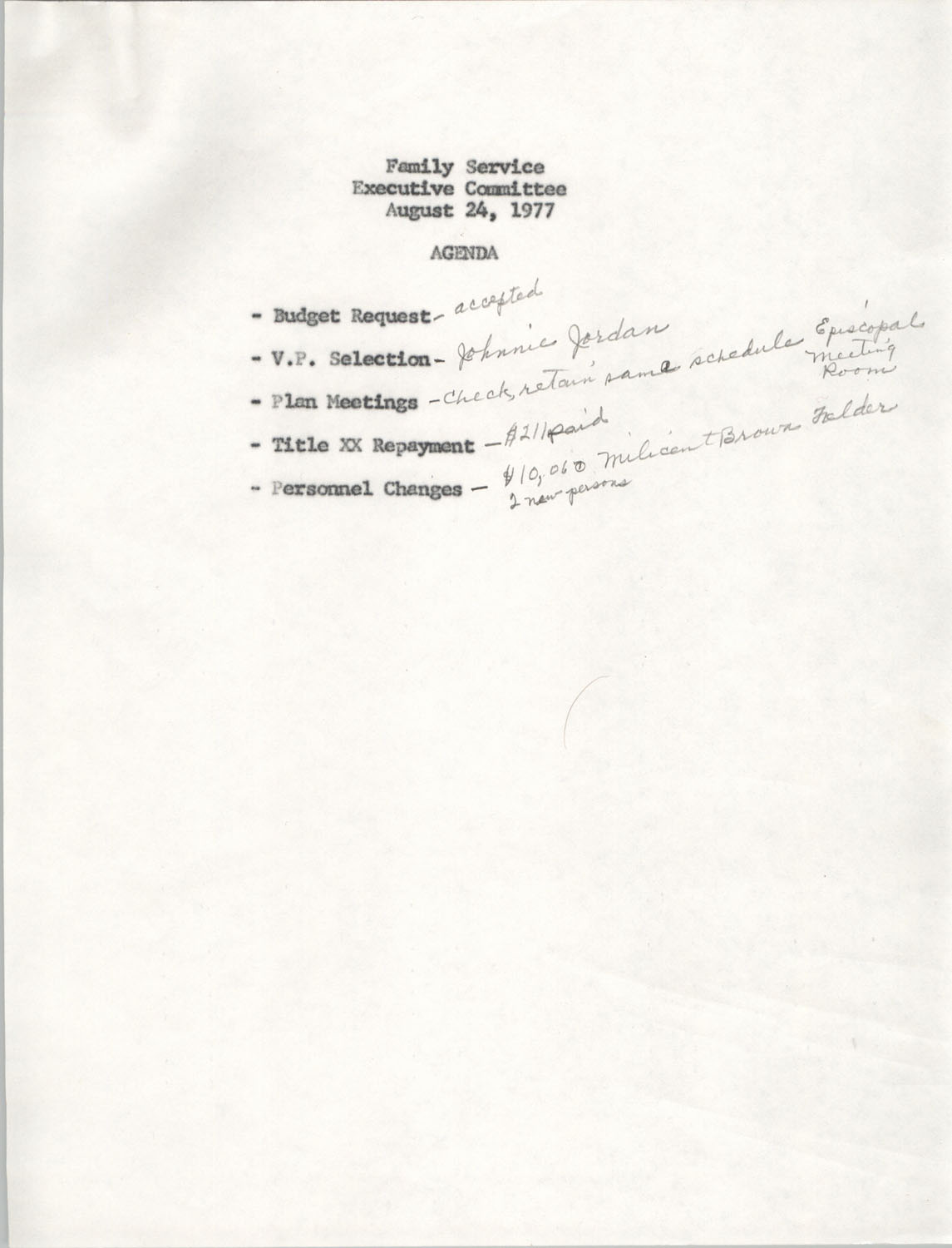 Agenda, Family Service Executive Committee, August 24, 1977