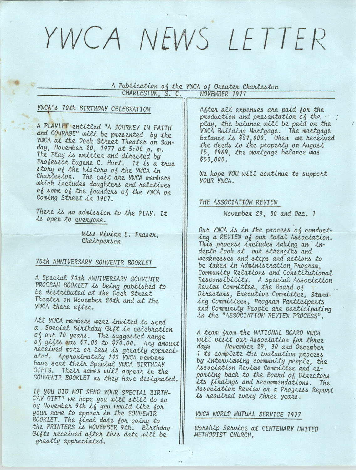 Newsletter, YWCA of Greater Charleston, November 1977