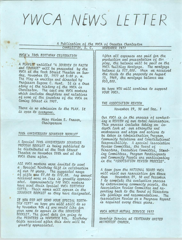 Newsletter, YWCA of Greater Charleston, November 1977
